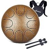 Asmuse Mini Tambour Handpan 8 Tons 6 Pouces C Majeur Instrument à Percussion, Steel Tongue Drum en Acier avec Sac et Livre de