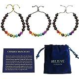 Believe London Bracelet Chakra avec Sac à Bijoux et Carte des Significations | Bracelet Ajustable pour S'Adapter à Tous Les P