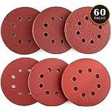 Disque de Ponçage 60pcs Tacklife Disques Abrasifs 40/60/80/120/180/240 Grain Taille de 125mm Idéal pour Poncer/ Polir/ Dérouiller | ASD03C