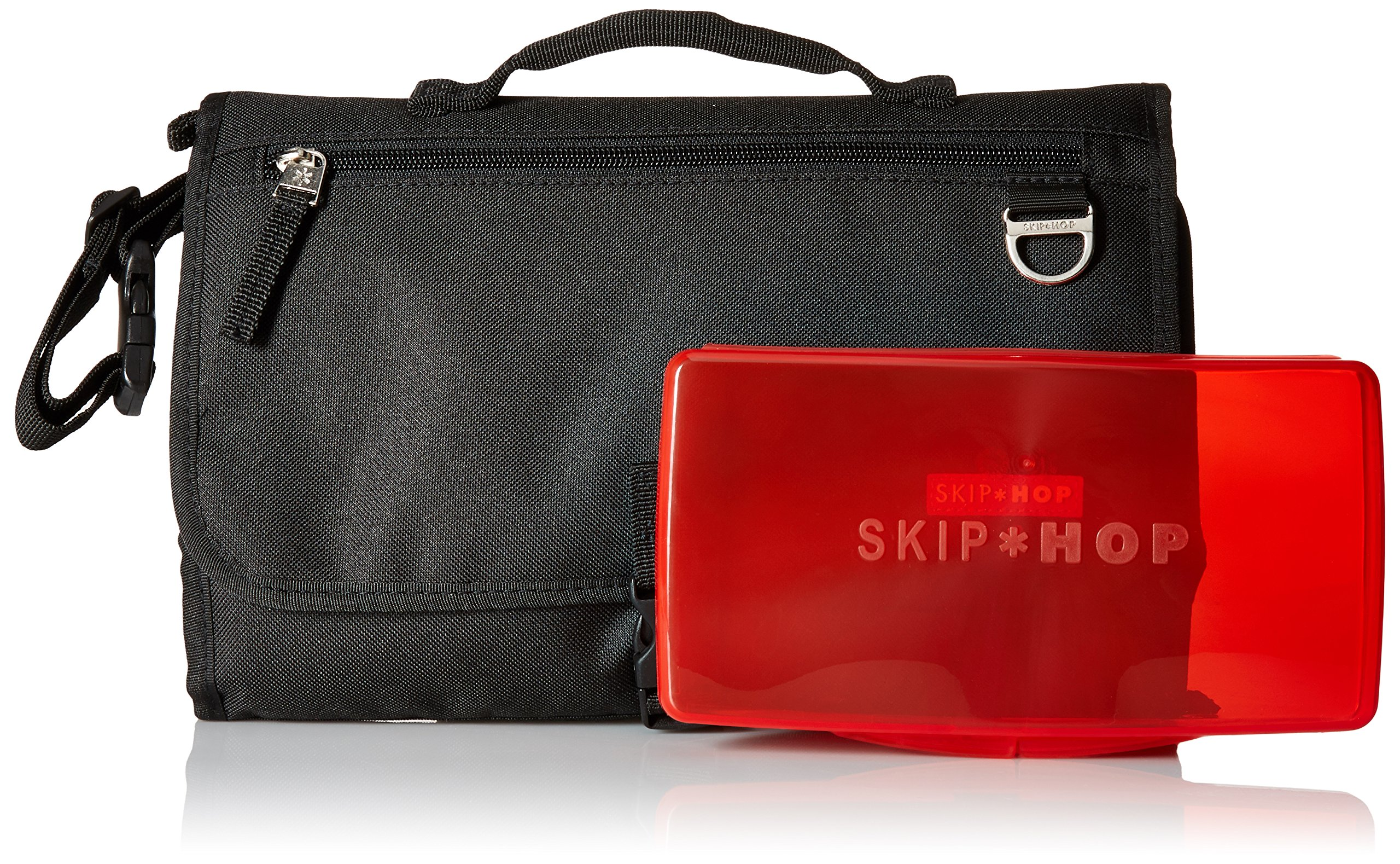 Skip Hop Pronto Signature Changing Set, Black Skip Hop Changing pad: extra-wide for wiggly babies. wipes clean. Two-in-one: pad zips off for independent use Translucent wipes case: see-through for timely reloads 6