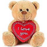 Brubaker Orsacchiotto Orso di Peluche con Scritta I Love You su Un Cuore di Peluche - 25 cm di Altezza