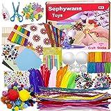 Sephywans Pipe Cleaners Crafts Set, Comprend une variété de matériaux avec des outils, des DIY Activites Manuelles Pompons Lo