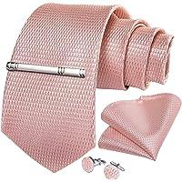 DiBanGu Men's Necktie Solid Silk Tie and Pocket Square Wedding Tie Cufflinks Set Formal