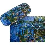 VON LILIENFELD Brillenetui Claude Monet: Seerosen Blumen Kunst Motiv Etui Brille Mikrofaser Brillenputztuch Brillenbox Stabil
