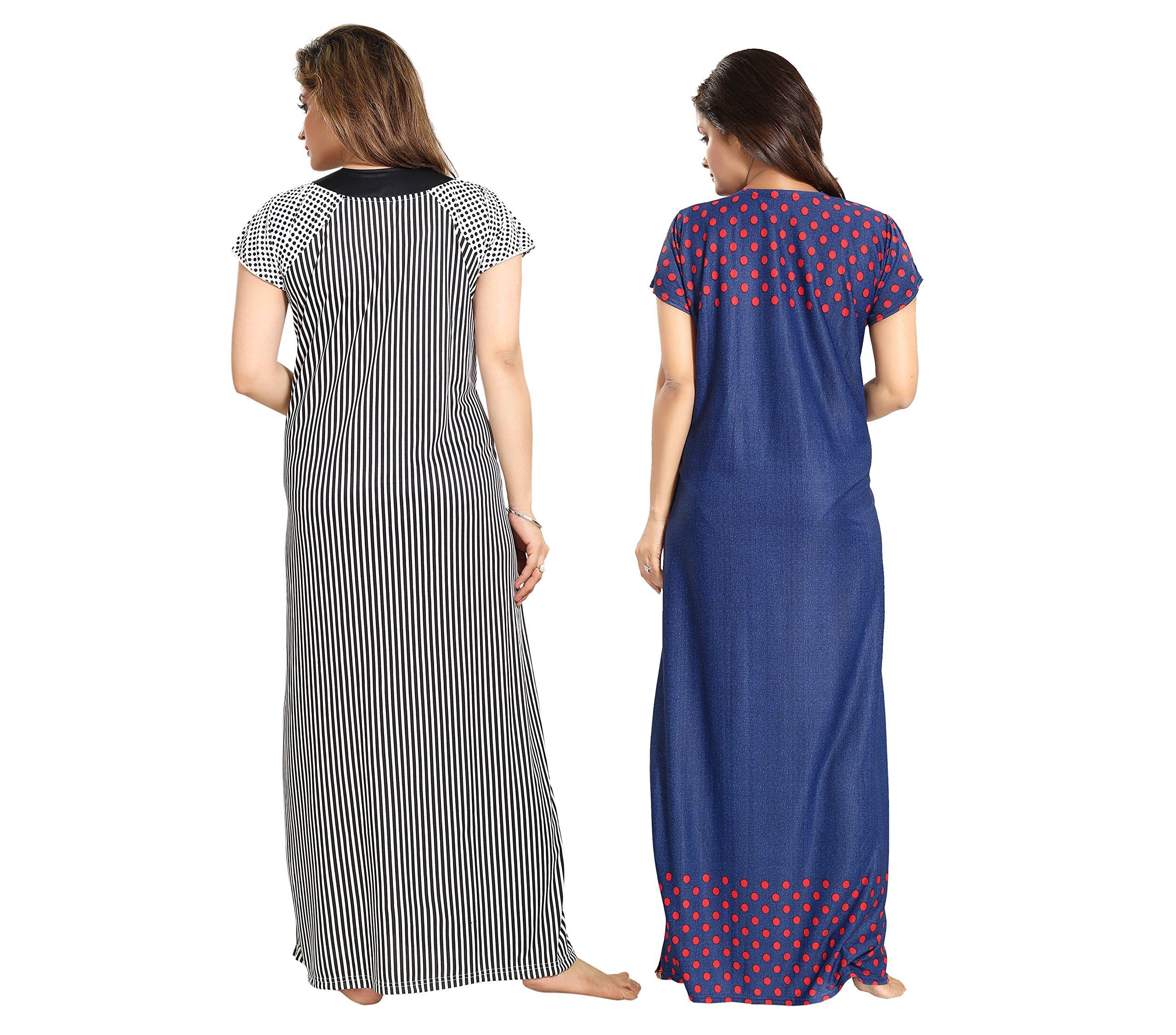 6284a2f497 Tucute Women   Girls Beautiful Denim Print Base with Red Polka Dott s +  Black-n-White Line Print Nighty   Night Gown ...