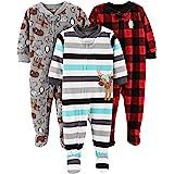 Simple Joys by Carter's Pijama de Forro Polar Resistente al Fuego de Ajuste Holgado con pies Bebé-Niños, Pack de 3
