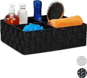 Relaxdays Cestino Portaoggetti con 4 Scomparti, per i Cosmetici da Bagno, per Soggiorno HxLxP: 10 x 32 x 27 cm, Nero, PP, Metallo, 1 Pz