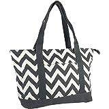 Allgala Roomy Premium Canvas Tote Bag with Fashion Prints, Chevron Grey, X-Large