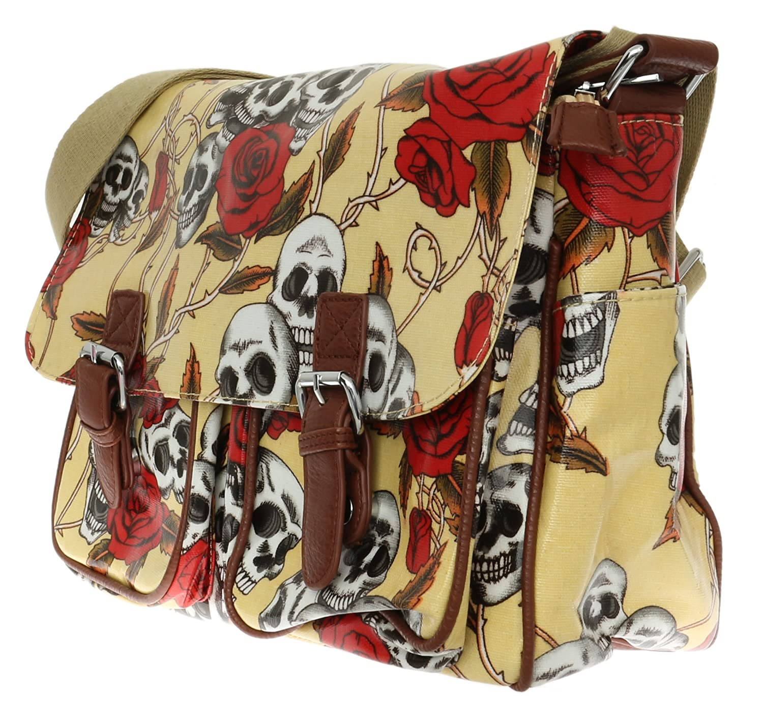 Girly HandBags Ladies Skull Roses Satchel OilCloth Shoulder Bag College  Designer Celeb Glossy: Amazon.co.uk: Shoes & Bags