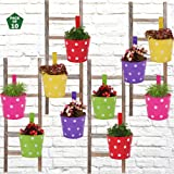Leafy Tales Single Pot Metal Hanging Planter - Set of 10 (Rust Free - Red, Green, Yellow, Pink, Purple) - Single Hanger