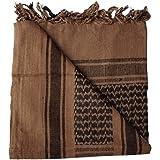 100% Cotton Brown and Black Shemagh Arab Keffiyeh Headscarf Unisex Desert Shawl Hijab Scarf