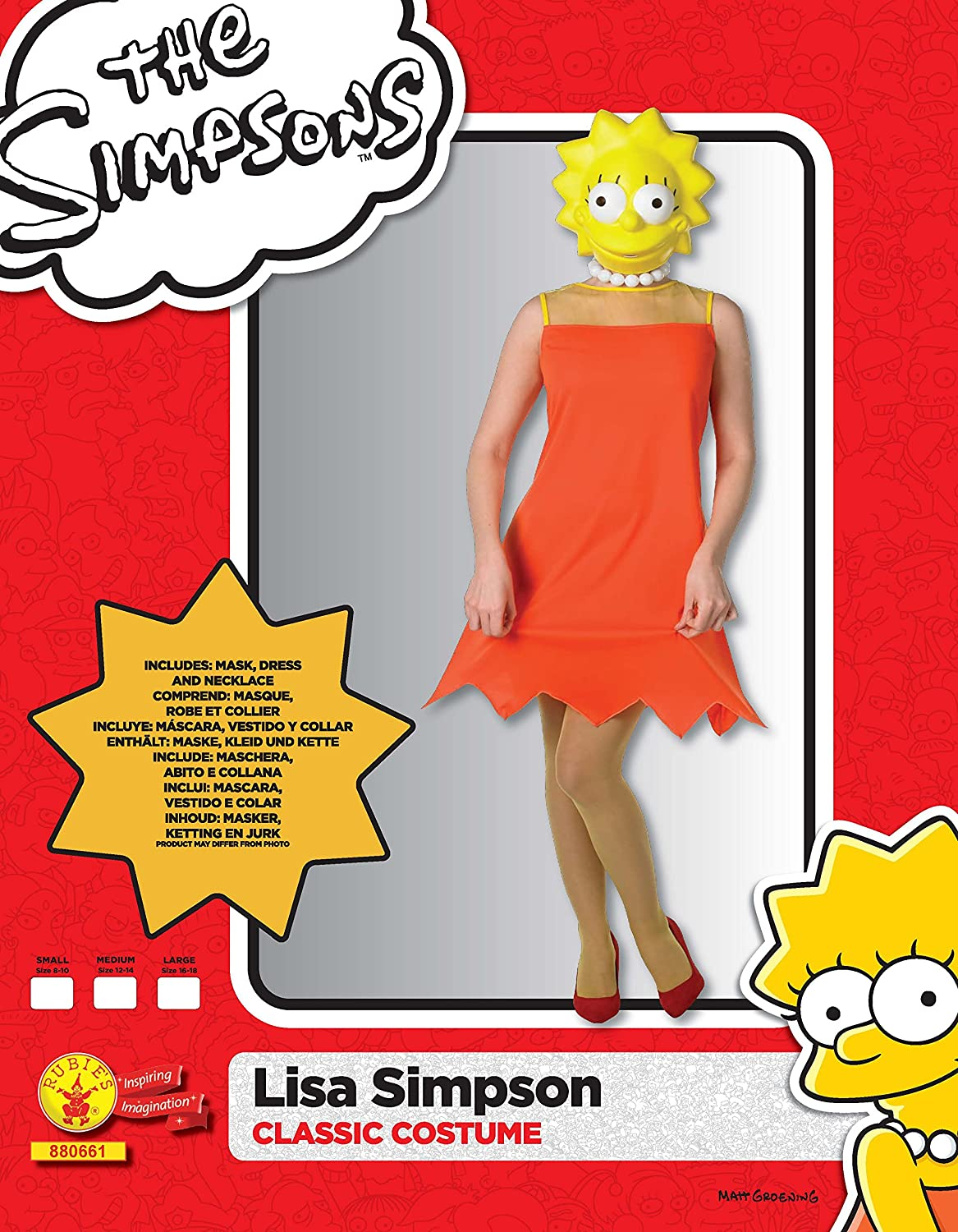 Rubie's Official Lisa Simpson Classic, Adult Costume - Small ...
