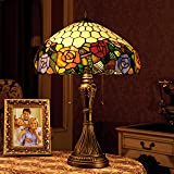 16 pouces de style pastoral européen main vitrail élégant trichromatique Rose lampe de table lampe de chevet