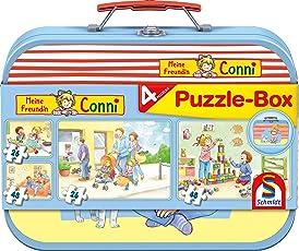 Schmidt Spiele Puzzle 56493 Meine Freundin Conni, Box, 2x24, 2x48 Teile Kinderpuzzle im Metallkoffer, bunt