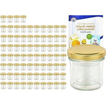 25er Set Sturzglas 230 ml Marmeladenglas Einmachglas Obst Dekor mit Rezeptheft