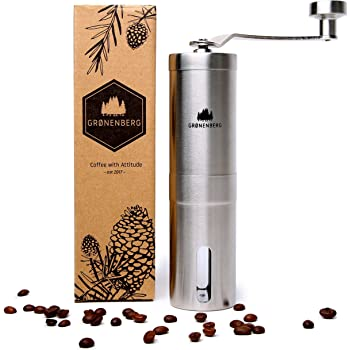 Groenenberg Hand-Kaffeemühle mit Keramik-Mahlwerk Manuelle Kaffeemühle | Espresso-Mühle | Edelstahl | Stufenlose Mahlgradeinstellung