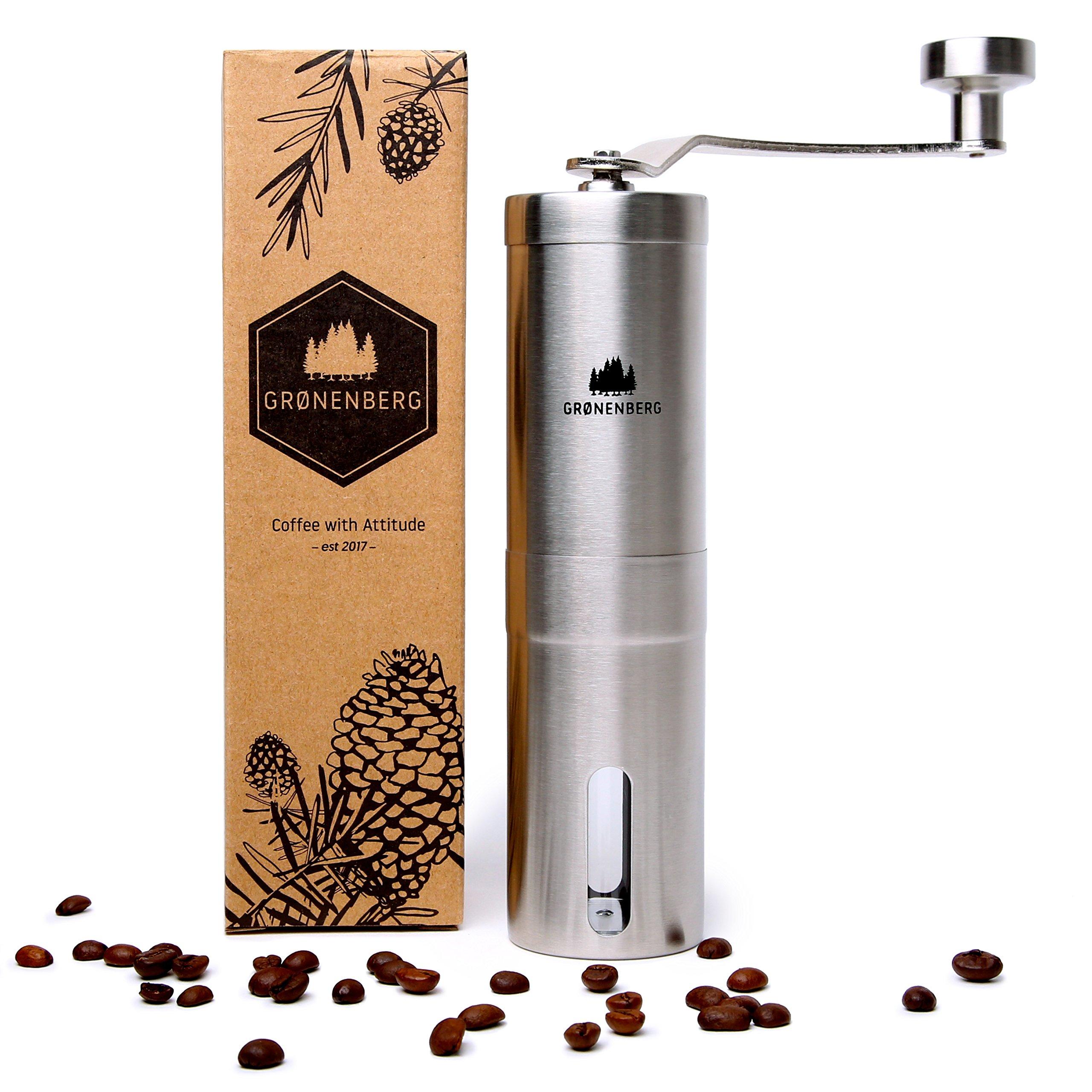 Groenenberg Kaffeemühle manuell mit Keramikmahlwerk | Kaffeemühle Hand – Handkaffeemühle aus Edelstahl | Espressomühle | Präzise Mahlgradeinstellung stufenlos | Manuelle Kaffeemühle