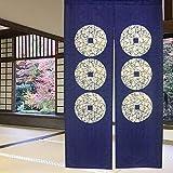 """Cortina de puerta japonesa Noren para decoración del hogar, de LIGICKY, poliéster y mezcla de poliéster, Seis monedas, 33.5""""x"""