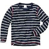 WELLYOU Camiseta de Manga Larga Azul Oscuro con Rayas Blancas, Mangas largas para niños y niñas. Tallas 56-146