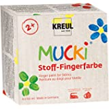Kreul 28400 - Mucki leuchtkräftige Stoff - Fingerfarbe, parabenfrei, glutenfrei, laktosefrei und vegan, optimal für die Anwendung mit Fingern und Händen, 4 x 250 ml in gelb, rot, blau und grün