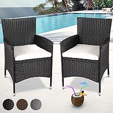 Miadomodo Set Polyrattan Stühle mit Sitzkissen (Farbe und Set) Gartenstuhl Outdoor Terrasse Möbel