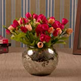 TIED RIBBONS Faux Multicolor Flowers with Mercury Glass Vase for Home Decor Center Table Bedroom Living Room and Office Decor