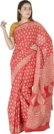Tribes India Women's Cotton Rajasthani Block Printed Saree with Blouse (1STXSARRJ00007_10, Rust and White, 6 m)