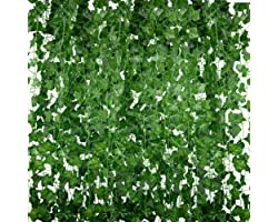 Huryfox Fake Plants for Room Decor, Artificial Ivy Leaves Vines Autumn Aesthetic Home Decorations Faux Hanging Greenery Garla