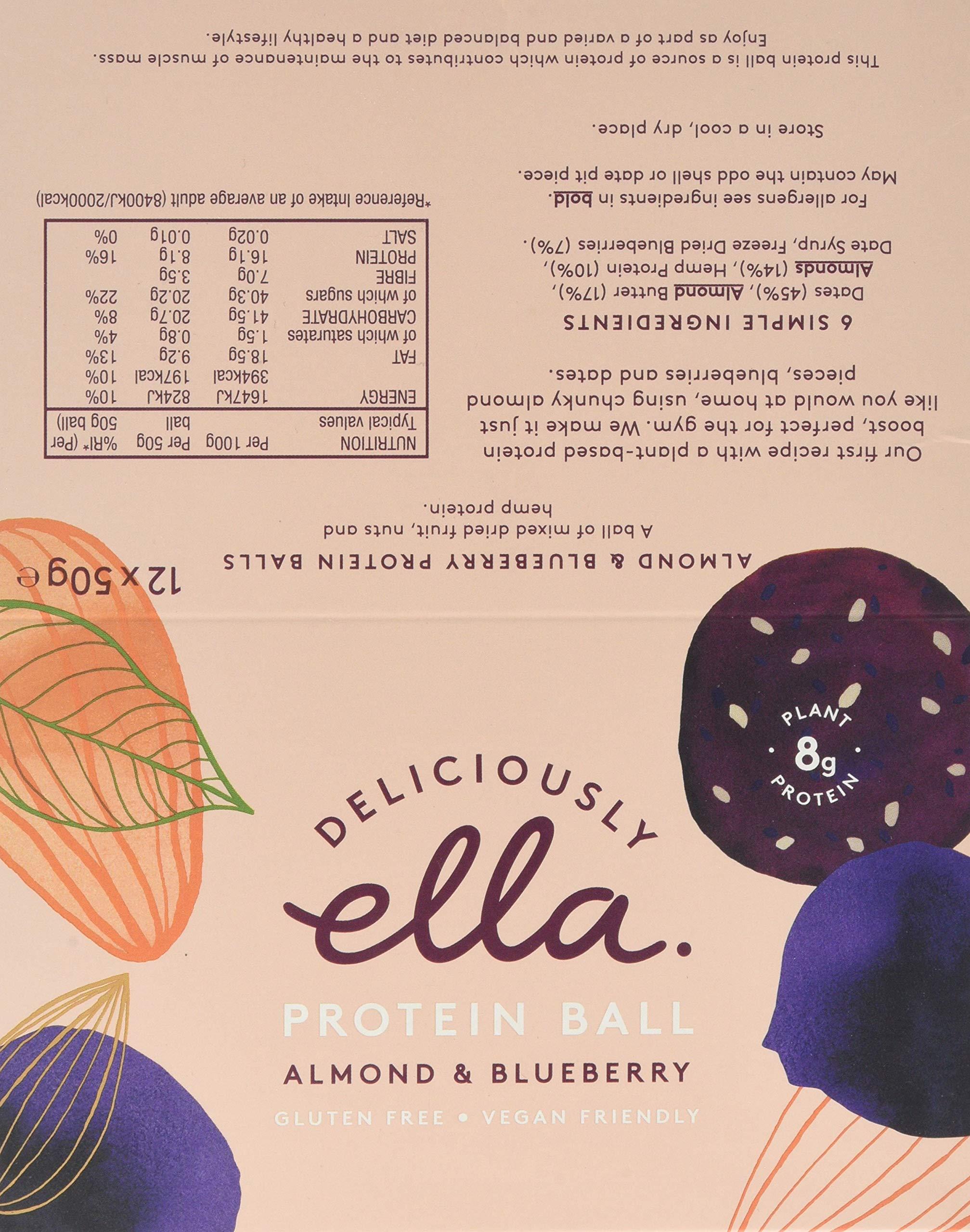 Deliciously Ella - Almond & Blueberry Protein Ball, Gluten-Free, Vegan Friendly, Healthy Snack, 50g (12 Balls) 5
