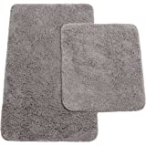 Brandsseller Badmattor set om 2 består av badrumsmatta: ca 50/80 cm och WC matta ca 45/50 cm – färg: antracit