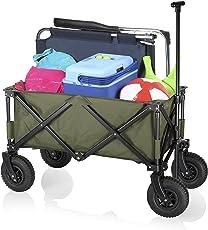 Campart Travel klappbarer Strandwagen/Bollerwagen - 70 Kilogramm Belastbarkeit - luftgefüllte Reifen - Marinegrün - mit Tasche, HC-0915