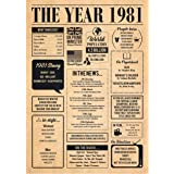 1981 1981 Poster 40th Birthday OR a Couple Celebrating Their 40th Wedding Anniversary No Frame