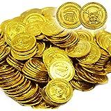 180 Kunststoff Goldmünzen Für Kinder - Gold Coins - Ideal Für Party Bag Füllstoffe, Gastgeschenke, Pinata, Schatzsuche - Piraten schatzkiste Themenpartys - Künstlich Abspielen Geld Spiele