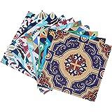 Topmail 10 Piezas Adhesivo para Azulejos Impermeable, Pegatinas de Baldosas Autoadhesivo, Pegatina de PVC Cuadrado Estilo Med