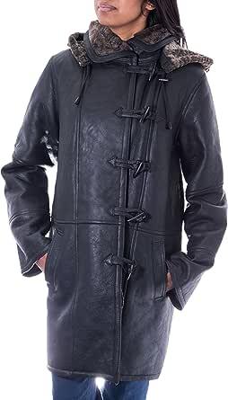 A to Z Leather Inverno Nero Reale Montone di Pecora Montgomery delle Donne Il Grigio Pelliccia