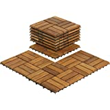 "Bare Decor BARE-WF2009 Solid Teak Wood Interlocking Flooring Tiles (Pack of 10), 12"" x 12"", Brown"