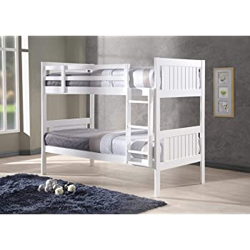 New Milan Wooden Kids Bunk Bed White Shaker Style Modern Childrens