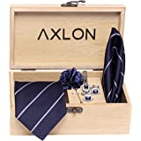 Axlon Men's Micro Polyester Necktie Set with Pocket Square, Brooch Pin and Cufflinks (Blue, Free Size)