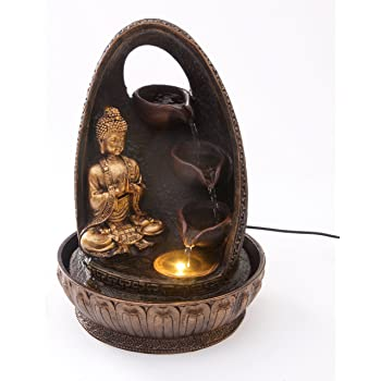 Golden Buddha Prayer with Water Cups Indoor Water Fountain with LED Light | Size 23*23*30 Cm | 3 Pin UK Plug Included |