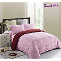 SleepX Winter Comforter King Size Reversible with Fine Microfibres, Baby Pink