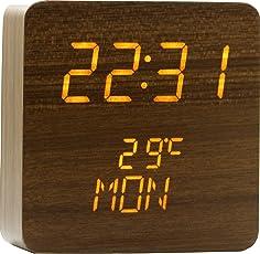 Vinlite Coffee Brown 3 Line Yellow LED Digital Clock