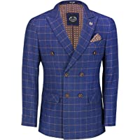 Xposed Mens Classic Double Breasted Blazer Orange on Blue Retro Windowpane Grid Check Tailored Fit Suit Jacket