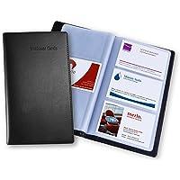 SIGEL VZ171 Porte-cartes de visite, jusqu'à 120 cartes, 9 x 5,8 cm, similicuir, noir