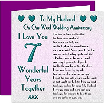 7th Wedding Anniversary.My Husband 7th Wedding Anniversary Gift Set Card Keyring