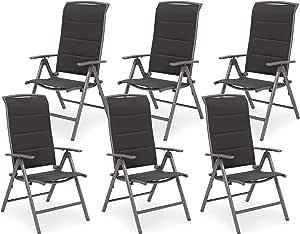 BRUBAKER Milano Lot de 6 Chaises de Jardin Pliante Chaises à Dossier Haut réglable en 8 Positions Rembourré Imperméable Aluminium Gris