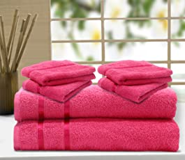 Story@Home 100% Cotton Soft Towel Set of 6 Pieces, 450 GSM - 2 Full Size Bath Towels, 4 Hand Towels - Pink