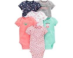 Simple Joys by Carter's Bebé Niñas trajecito de manga corta de algodón, Pack de 6