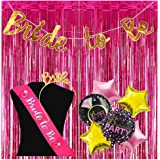 GRAND SHOP Bride To Be Foil Balloon, 1 Pc Sash, 1 Pc Headband, 1 Pc Banner, 2 Pcs Fringe Curtain, 4 Pcs Star Foil Balloon And