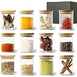 KIVY® Jeu de Pot en Verre Rangement Épices [12 x 150 ml] – Pot à Épices en Verre Empilables - Jeu Bocaux Épices Ronds - Conse