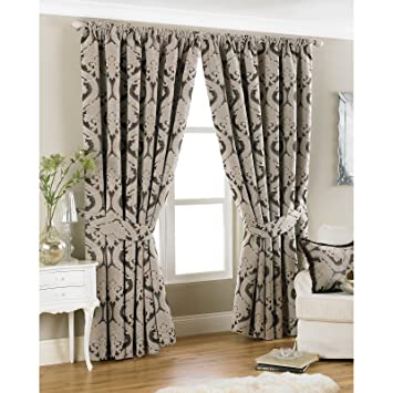 Just Contempo Damask Chenille Pencil Pleat Lined Curtains, Mocha ...
